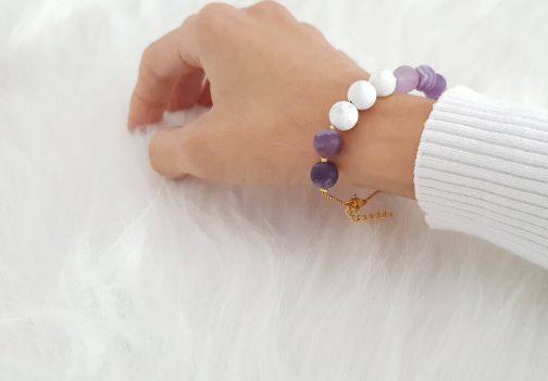 Bracelet agate et howlite