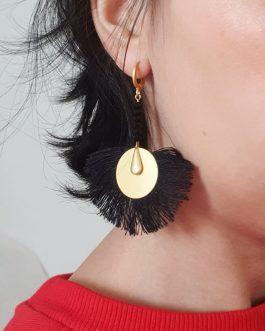 Boucles d'oreilles frange noire