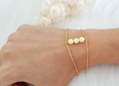 Bracelet perle Swarovski jaune