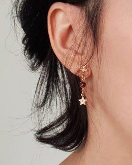 Boucles d'oreilles étoile grenat