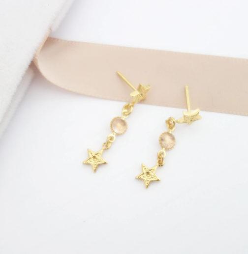 Boucles d'oreilles étoile quartz