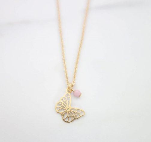 Collier papillon perle rose