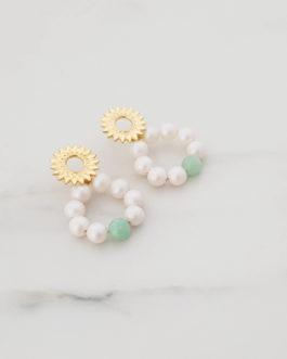 Boucles d'oreilles fleur perles