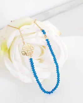 Collier perles bleues