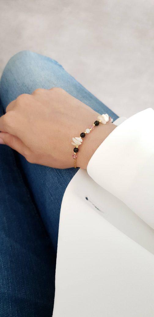 Bracelet printanier nacre onyx