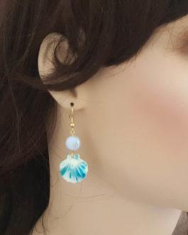 Boucles d'oreilles coquillage bleu