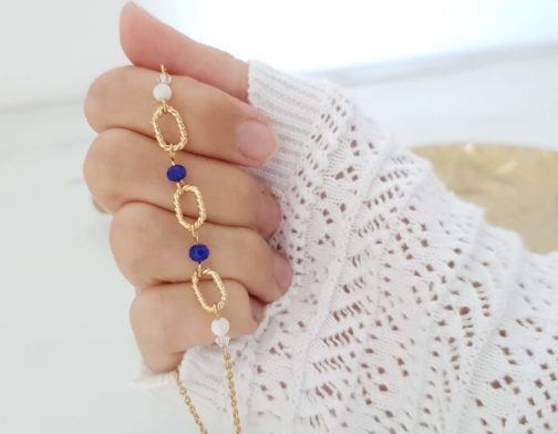 Collier maillons perles bleues