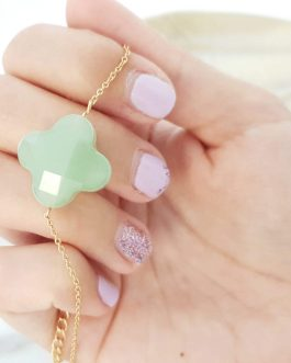 Bracelet trèfle facetté vert