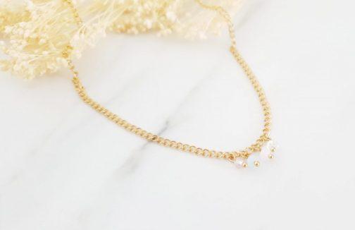 Collier perles pastels
