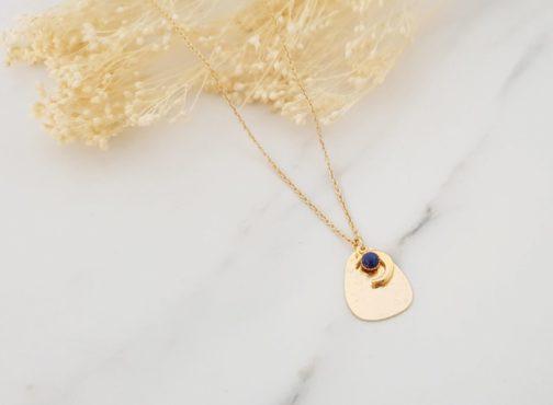 Collier lune lapis lazuli