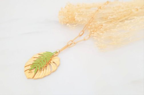 Collier feuilles tropicales