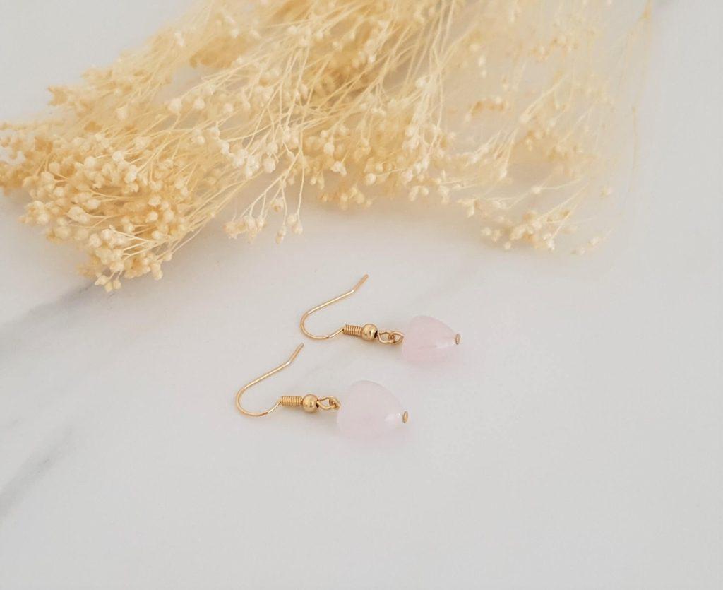 Boucles d'oreilles cœur quartz