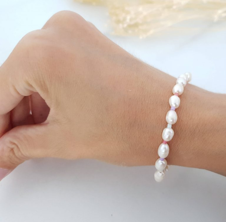 Bracelet nacre perles colorées