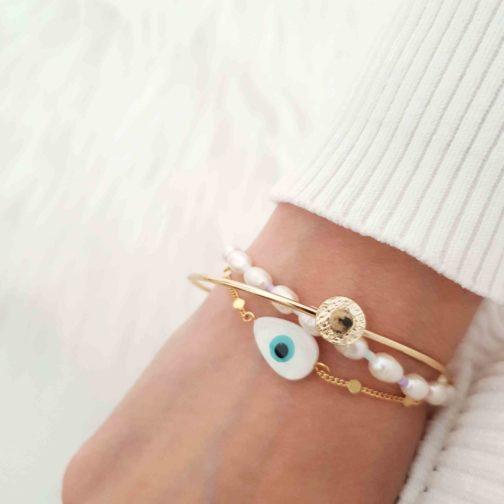 Bracelet oeil boho doré les fées colorées