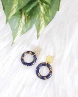 Boucles d'oreilles bleue dorée