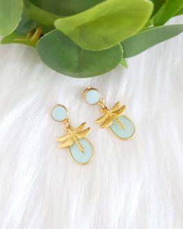 Boucles d'oreilles libellule bleu