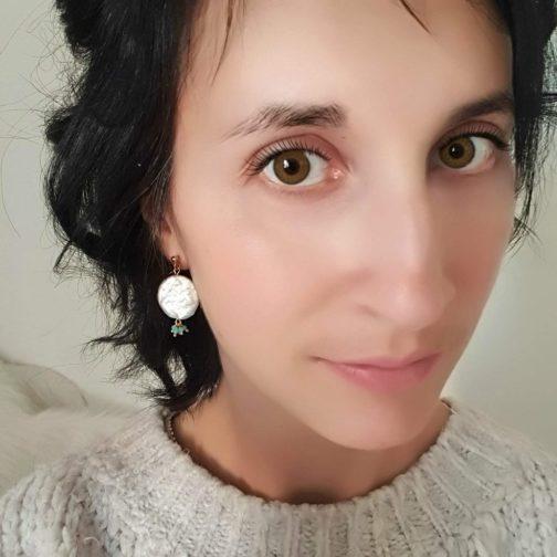 Boucles d'oreilles nacre pierre
