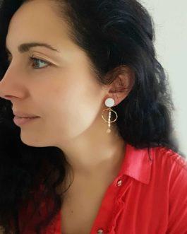 Boucles d'oreilles texturée nacre