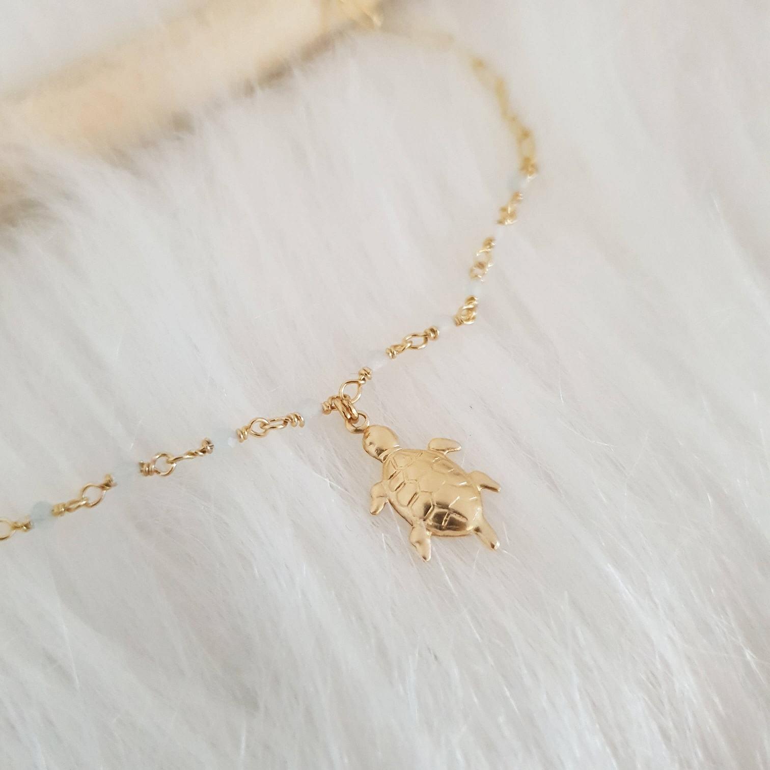 Bracelet tortue pierre fine