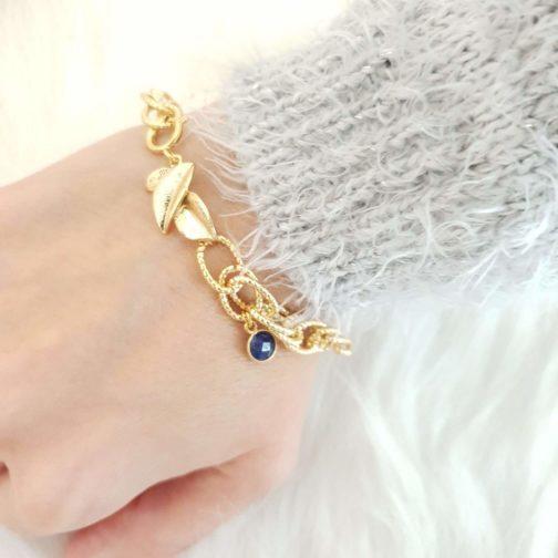 Bracelet chaine maillons lapis