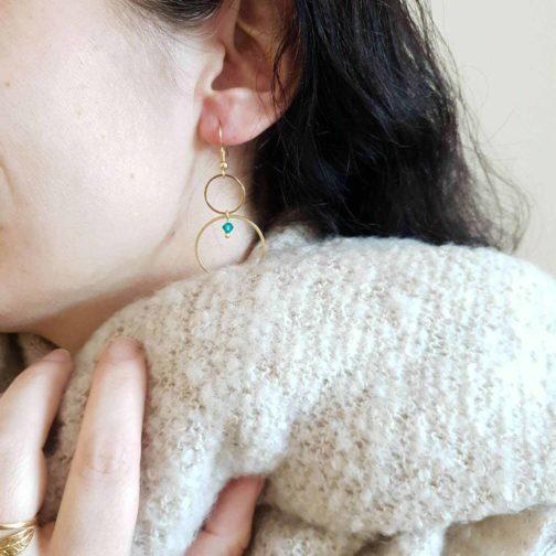 boucles d'oreilles cercles perle