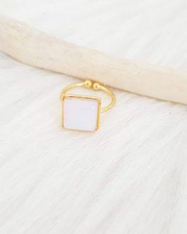 Bague carrée pierre blanche