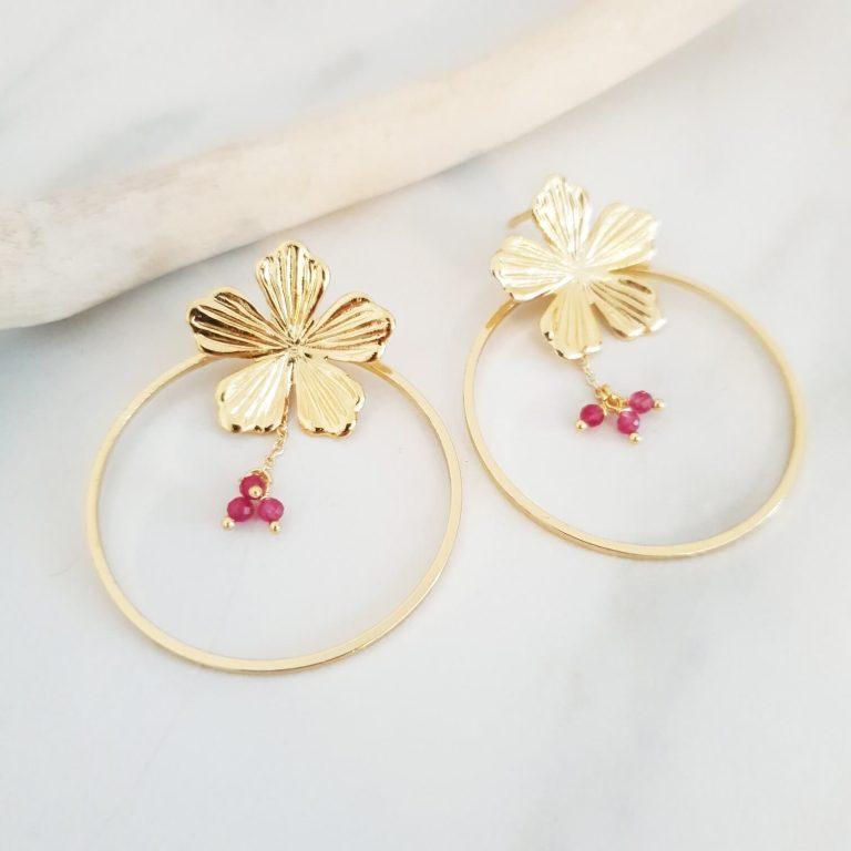 Boucles d'oreilles créoles fleur