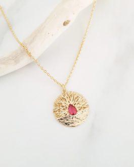 Collier branche zircon rouge