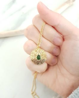 Collier branche zircon vert