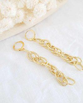 Boucles d'oreilles chaine dorée