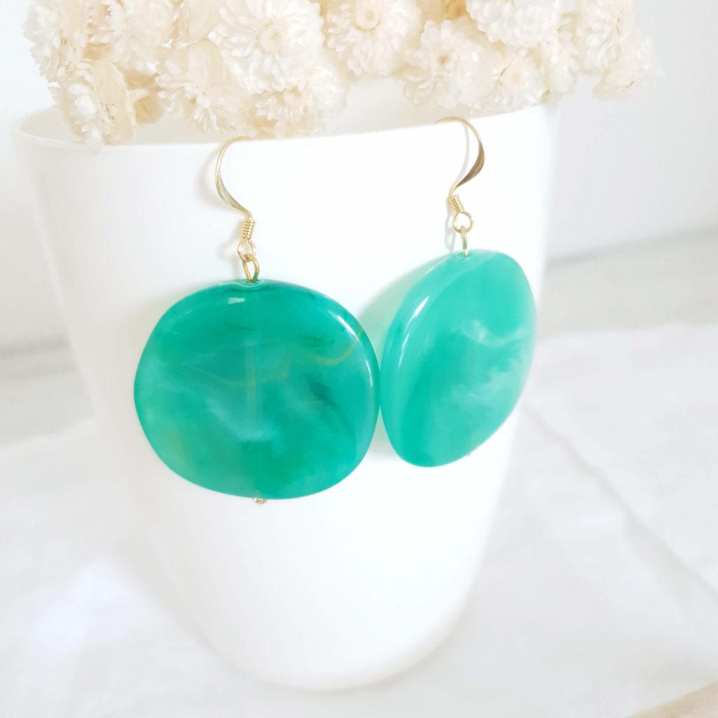 Boucles d'oreilles palet vert