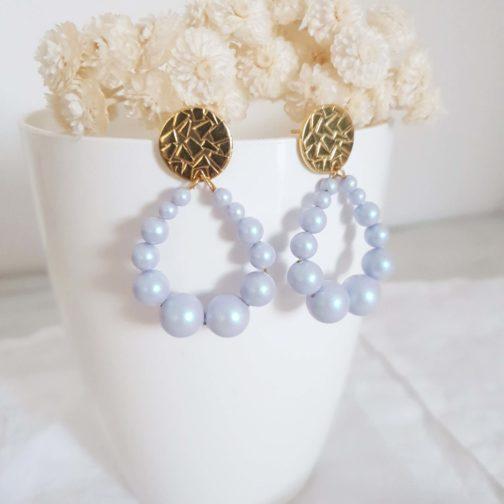 Boucles d'oreilles perles bleues