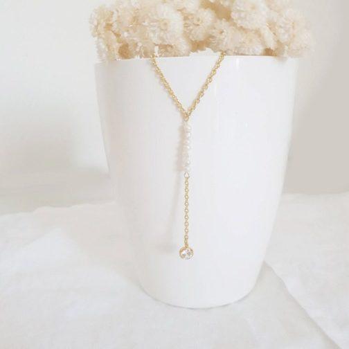 Collier blanc nacre cristal