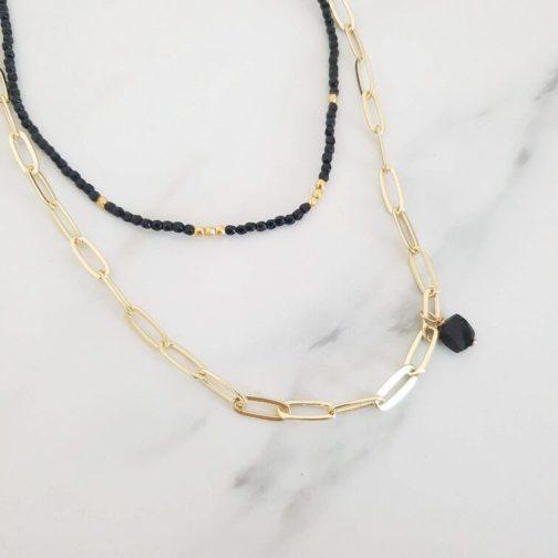 Duo collier or et noir