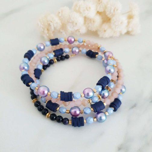 Bracelet rigide bleu rose