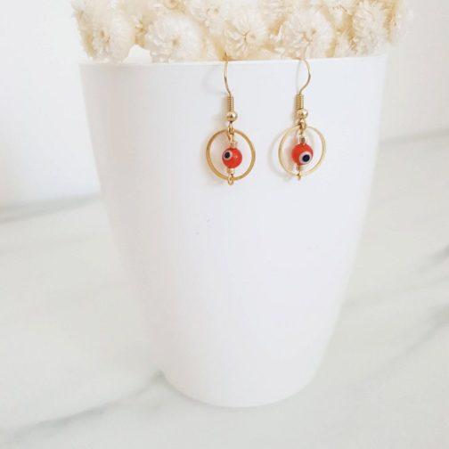 Boucles d'oreilles boho œil
