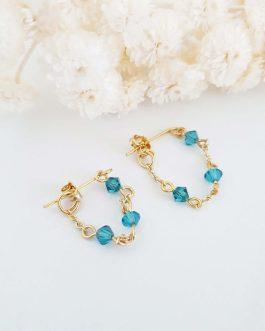 Boucles d'oreilles vert bleu
