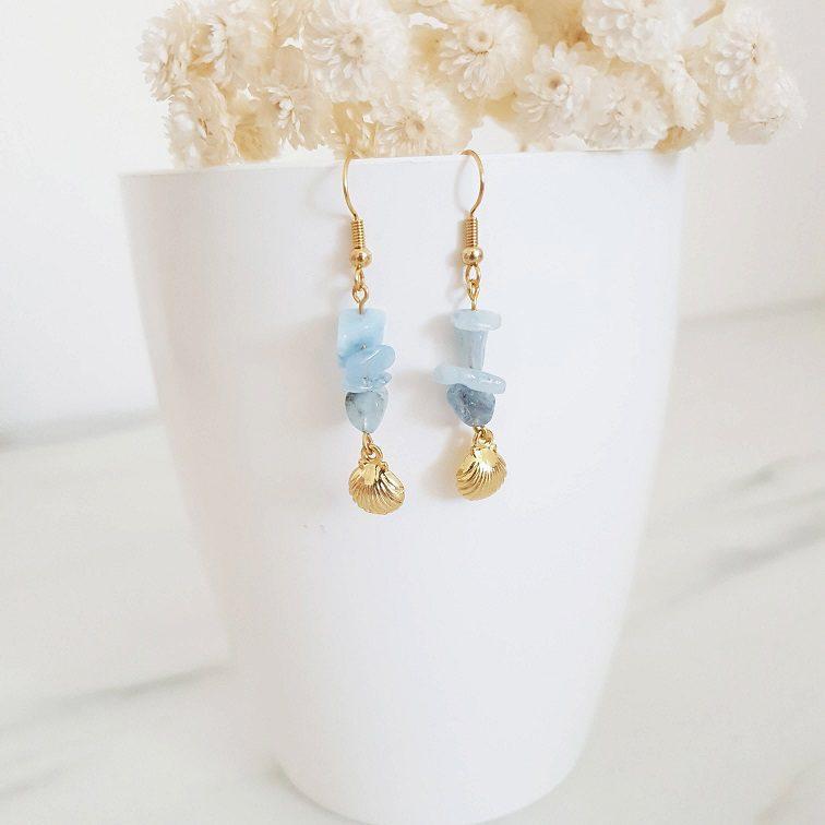 Boucles d'oreilles aiguemarine coquillage