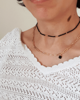 Duo collier or et noir