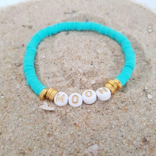 Bracelet heishis lettre moon