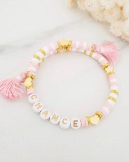 Bracelet lettres chance rose