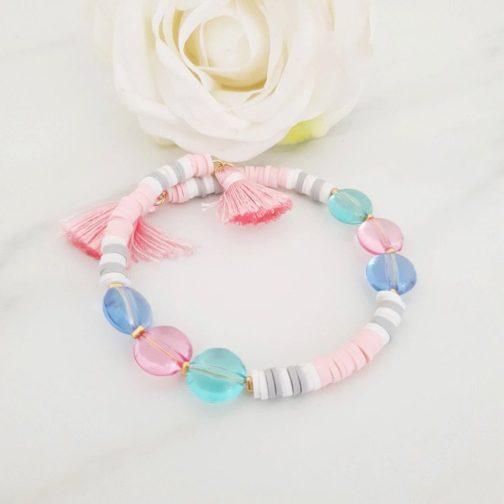 Bracelet heishi perles pastel