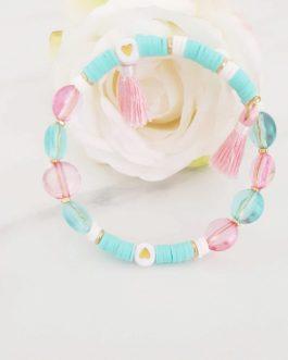 Bracelet heishi bleu pastel