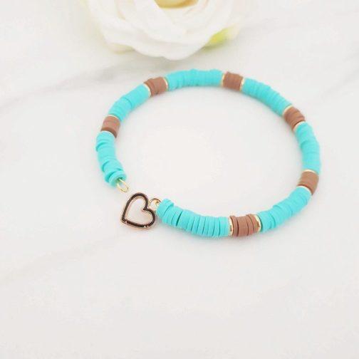Bracelet heishi marron et bleu