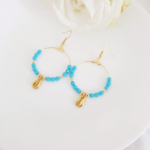 Boucles créoles bleu coquillage