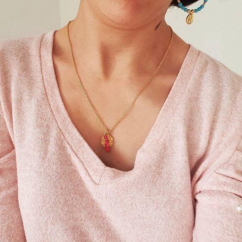 Collier pendentif rose et or