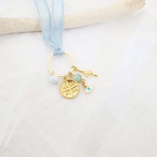 Bracelet/collier soie breloque