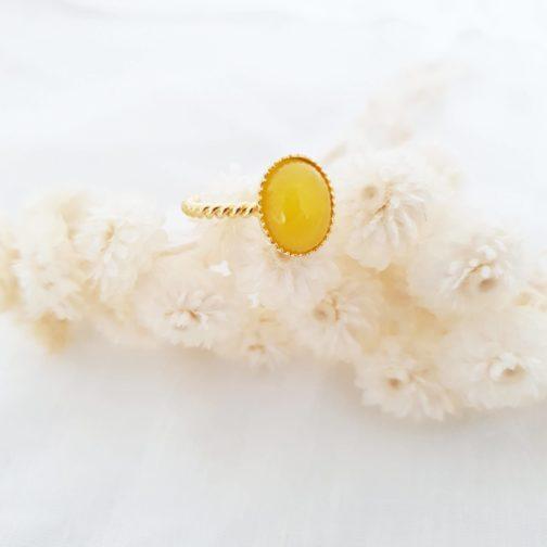 Bague torsadée agate jaune