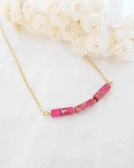 Collier pierre rose