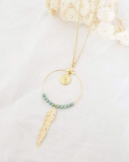 Sautoir plume perles vertes